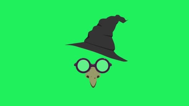 Animation Gesichtsmaske Hexe auf grünem Hintergrund.