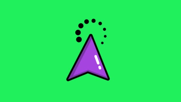 Animation purple mouse cursor on green background.