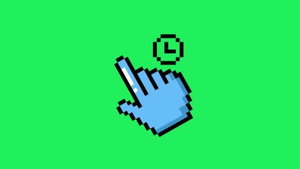 Animace modrý kurzor myši na zeleném pozadí.