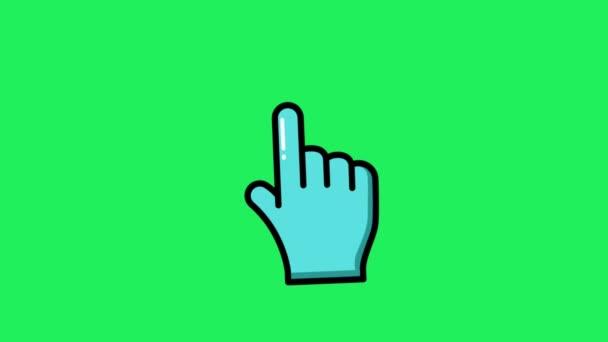 Animáció kék egér kurzor zöld háttér.