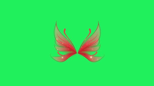 Animáció piros fantasy stílus pillangó szárnyak zöld háttér.