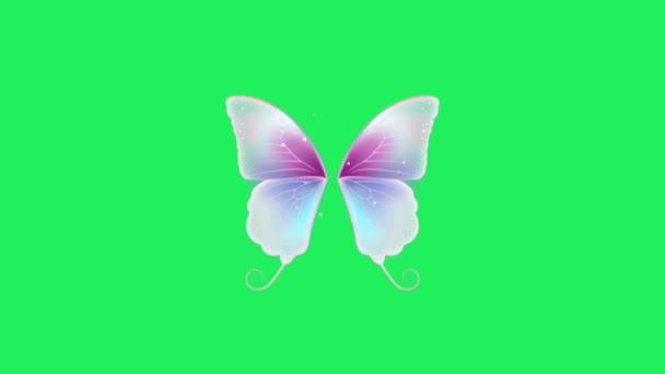Animace růžová fantasy styl motýl křídla na zeleném pozadí.