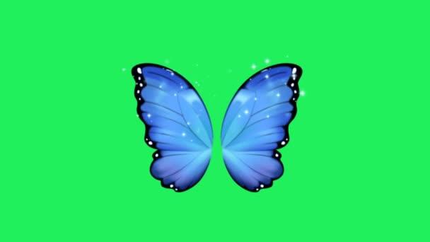 Animáció kék fantasy stílus pillangó szárnyak zöld háttér.