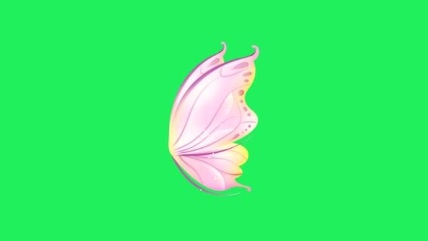 Animáció rózsaszín fantasy stílus pillangó szárnyak zöld háttér.