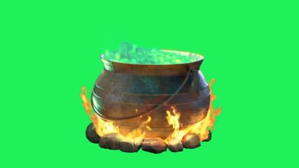 Animáció Boszorkány bájital üst zöld háttér.