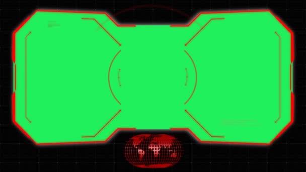 Animace červený kruh pro skenování cílového rámce se zeleným prostorem.