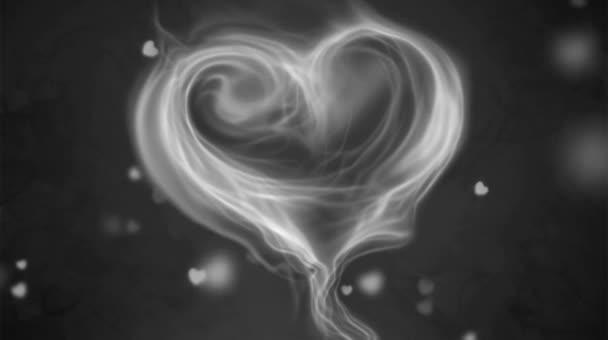 Animation weißer Rauch Herzform auf schwarzem Hintergrund.