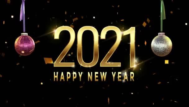 Animationstext Frohes Neues Jahr 2021 Kartendesign mit weißer roter Kugel.