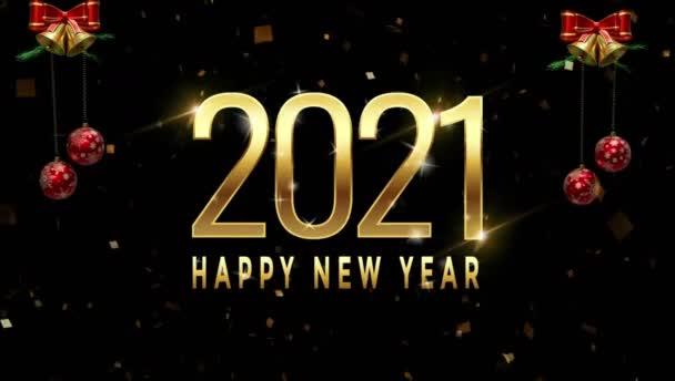 Animáció szöveg Boldog új évet 2021 kártya design fehér piros golyó.