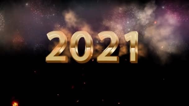 Animace zlatý text 2021 s barevným ohňostrojem.