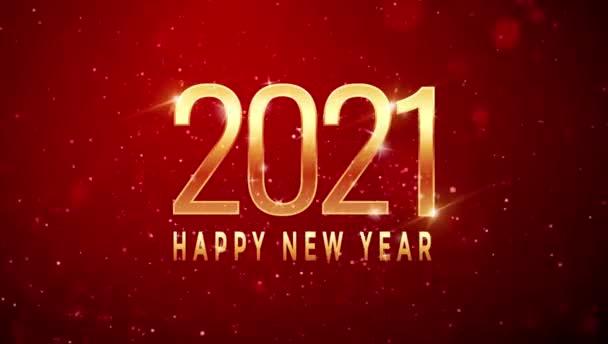 Animáció Szöveg Boldog Új Évet 2021 kártya design piros szikrázó.