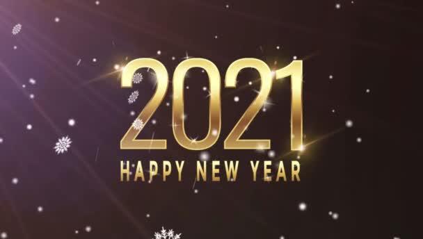 Animace Text Šťastný Nový rok 2021 Karta design s bílou sněhovou vločkou.