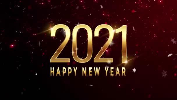 Animace Text Šťastný Nový rok 2021 design karty s červenou jiskřičkou.