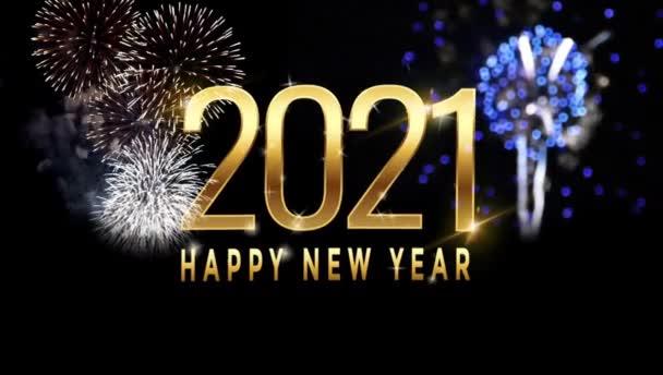 Animace Text Šťastný Nový rok 2021 design karty s barevným ohňostrojem.