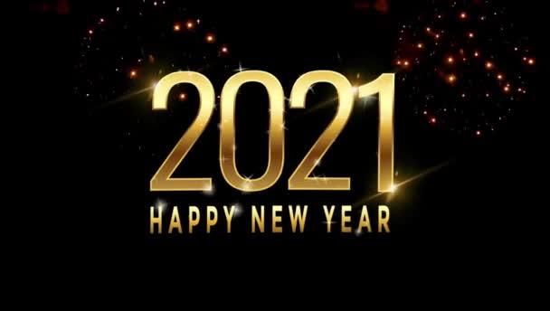 Animáció szöveg Boldog új évet 2021 kártya design színes tűzijáték.
