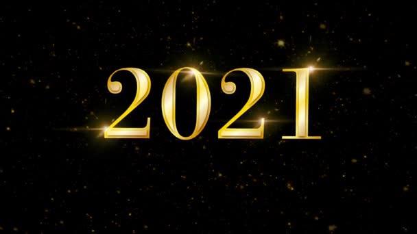 Animáció arany szöveg 2021 arany szalag kártya design.