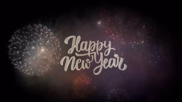 Animace Text Šťastný nový rok s barevným ohňostrojem.