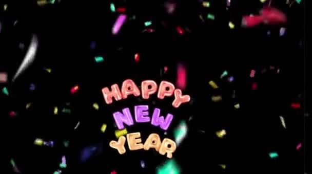 Animáció színes szöveg Boldog új évet kártya design színes szalagok fekete háttér.