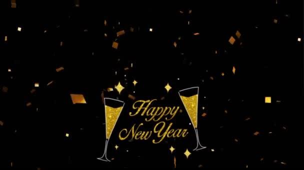 Animace zlatý text Šťastný Nový rok pro design karet se zlatými stuhami na černém pozadí.