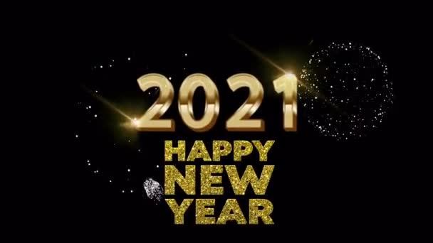 Animáció arany szöveg 2021 Boldog új évet kártya design fekete háttér