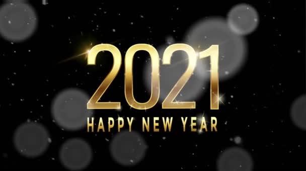 Animace zlatý text Šťastný Nový rok 2021 pro design karet s bílou sněhovou vločkou na černém pozadí.