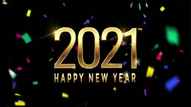 Animace zlatý text Šťastný Nový rok 2021 pro design karet s barevnými stuhami na černém pozadí.