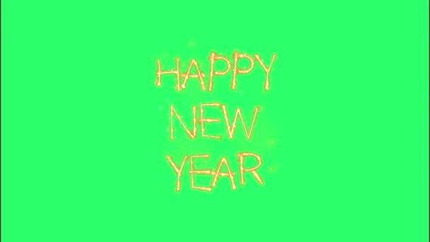 Animáció arany szöveg Boldog új évet kártya design zöld háttér