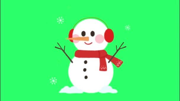 Animace sněhulák na zeleném pozadí.