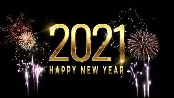 Animáció arany szöveg Boldog új évet 2021 kártya design színes tűzijáték fekete háttér.