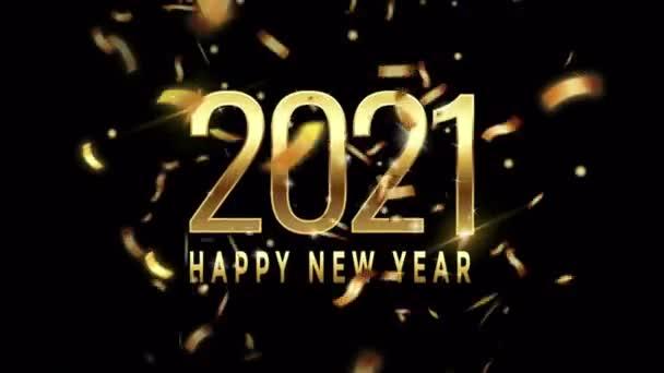 Animace zlatý text Šťastný Nový rok 2021 pro design karet se zlatými stuhami na černém pozadí.