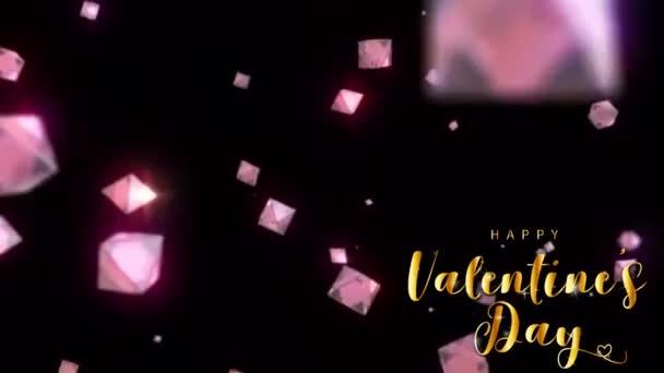 Animation goldener Text HAPPY Valentine S Day In der Mitte mit rosa Edelsteinen auf schwarzem Hintergrund.