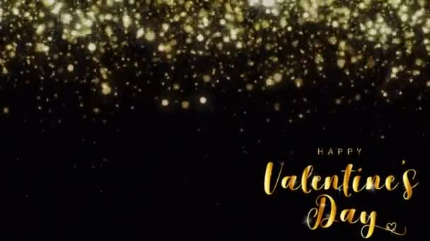 Animáció arany szöveg HAPPY Valentin nap A bal sarokban arany csillogás fekete háttér.