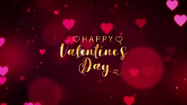 Animation golden text HAPPY Valentine S Day In the middle with red hearts on black background.