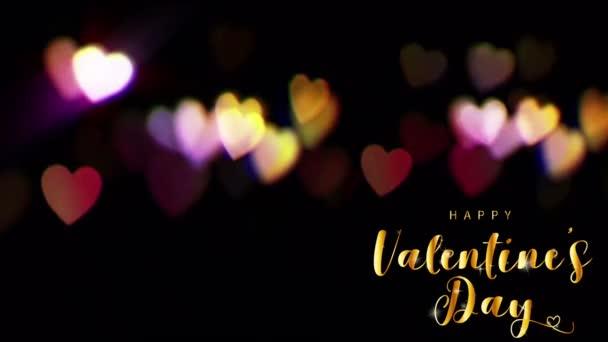 Animáció arany szöveg HAPPY Valentin nap A bal sarokban színes bokeh.