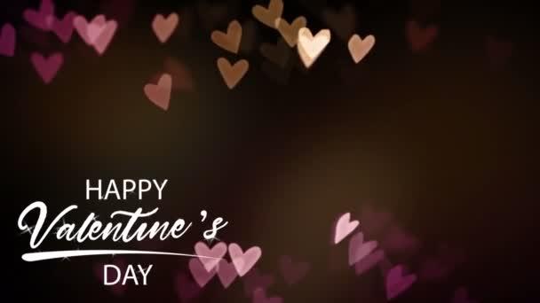 Animace bílý text Šťastný Valentýn V pravém rohu s růžovým srdcem tvaru na černém pozadí.