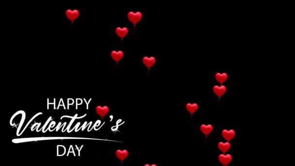 Animace bílý text Šťastný Valentýn V pravém rohu s červeným srdcem tvaru na černém pozadí.