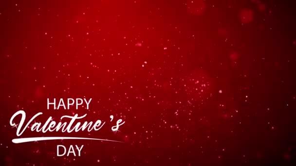 Animace bílý text Šťastný Valentýn V pravém rohu s červenou jiskru na černém pozadí.