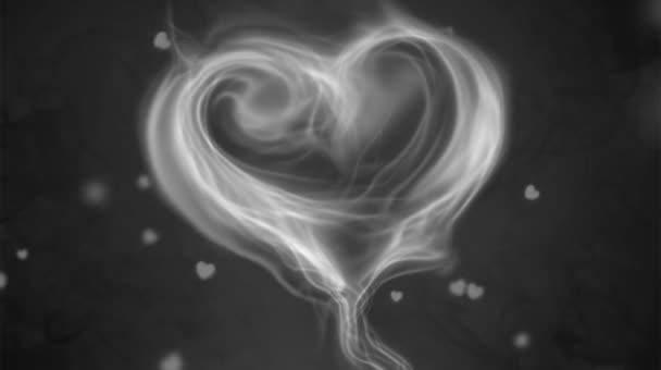 Animation white smoke heart shape with white  heart shape.