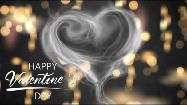 Animation white smoke heart shape with white text HAPPY Valentine S Day In the right corner and orange bokeh.