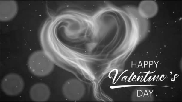 Animation white smoke heart shape with white text HAPPY Valentine S Day In the left corner and white bokeh.