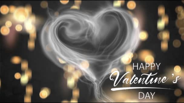 Animation white smoke heart shape with white text HAPPY Valentine S Day In the left corner and orange bokeh.