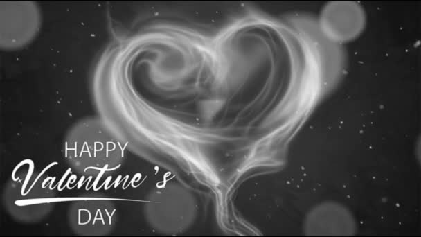 Animation white smoke heart shape with white text HAPPY Valentine S Day In the right corner and white bokeh.