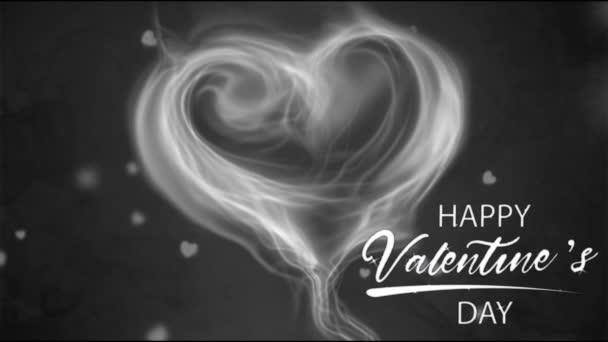 Animation white smoke heart shape with white text HAPPY Valentine S Day In the left corner.