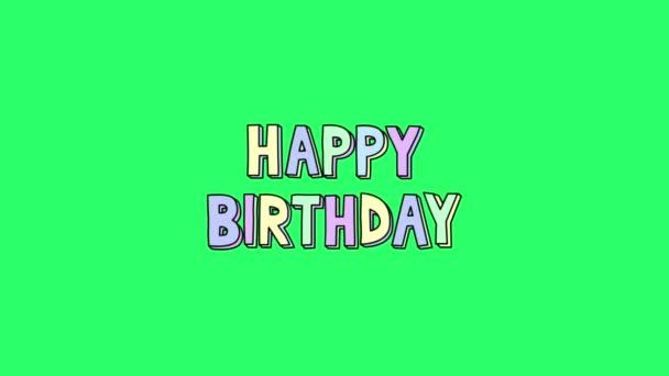 Animation text HAPPY BIRTHDAY on green background.