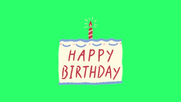 Animationstext HAPPY BIRTHDAY auf grünem Hintergrund.