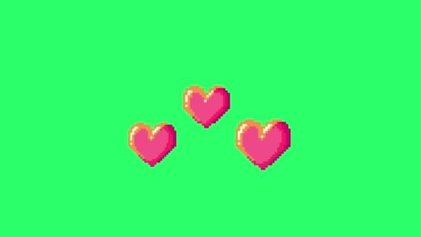 Animation rosa Herzen Form schwebend zum Valentinstag auf grünem Hintergrund.