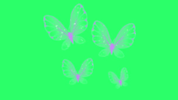 Animation purple butterfly swarm on green background.