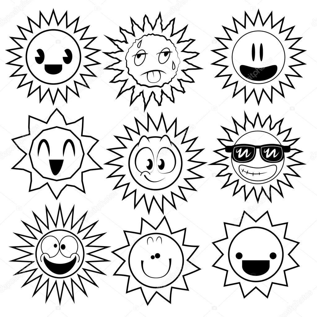 Black and White Sun Cartoons — Stock Vector © JessJagmin ...