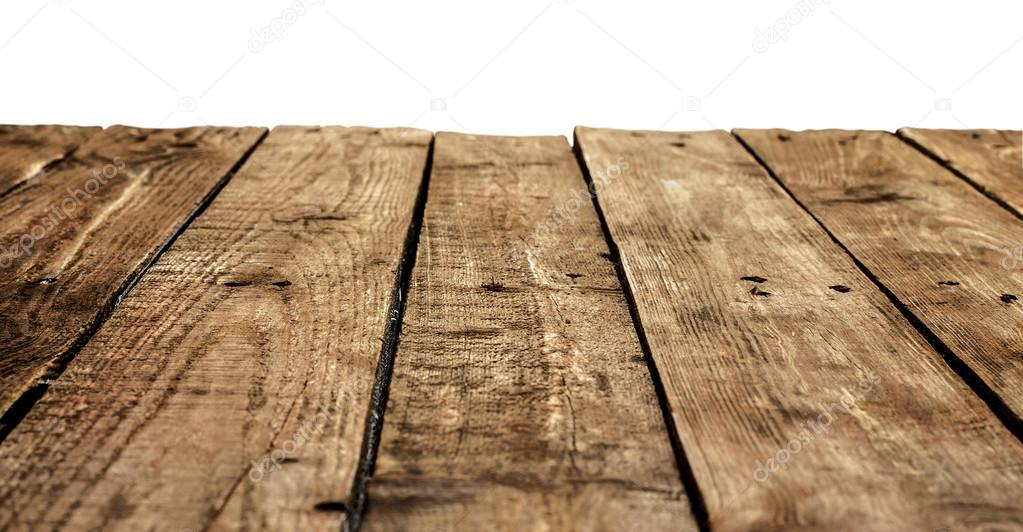 Old vintage planked wood table in perspective Stock Photo