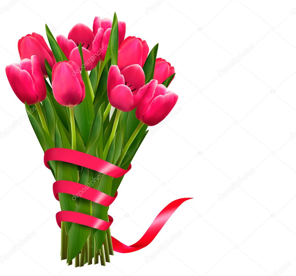 Holiday background with bouquet of pink flowers and ribbons. Vec